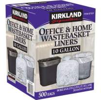 Kirkland Signature 10 Gallon Clear Wastebasket Liners Bags 500 Count