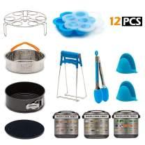 12 Pcs Instant Pot Accessories Pressure Cooker Accessories for Instant Pot 6 Qt 8 Quart - Steamer Basket, Springform Pan, Egg Rack, Egg Bites Mold, Plate Clip, Oven Mitts, Magnetic Cheat Sheets
