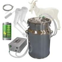 Hantop Cow Goat Milking Machine, Pulsation Rechargeable Battery Vacuum Pump Milker, Automatic Portable Livestock Milking Equipment (Battery Milker 7L,for Goat)