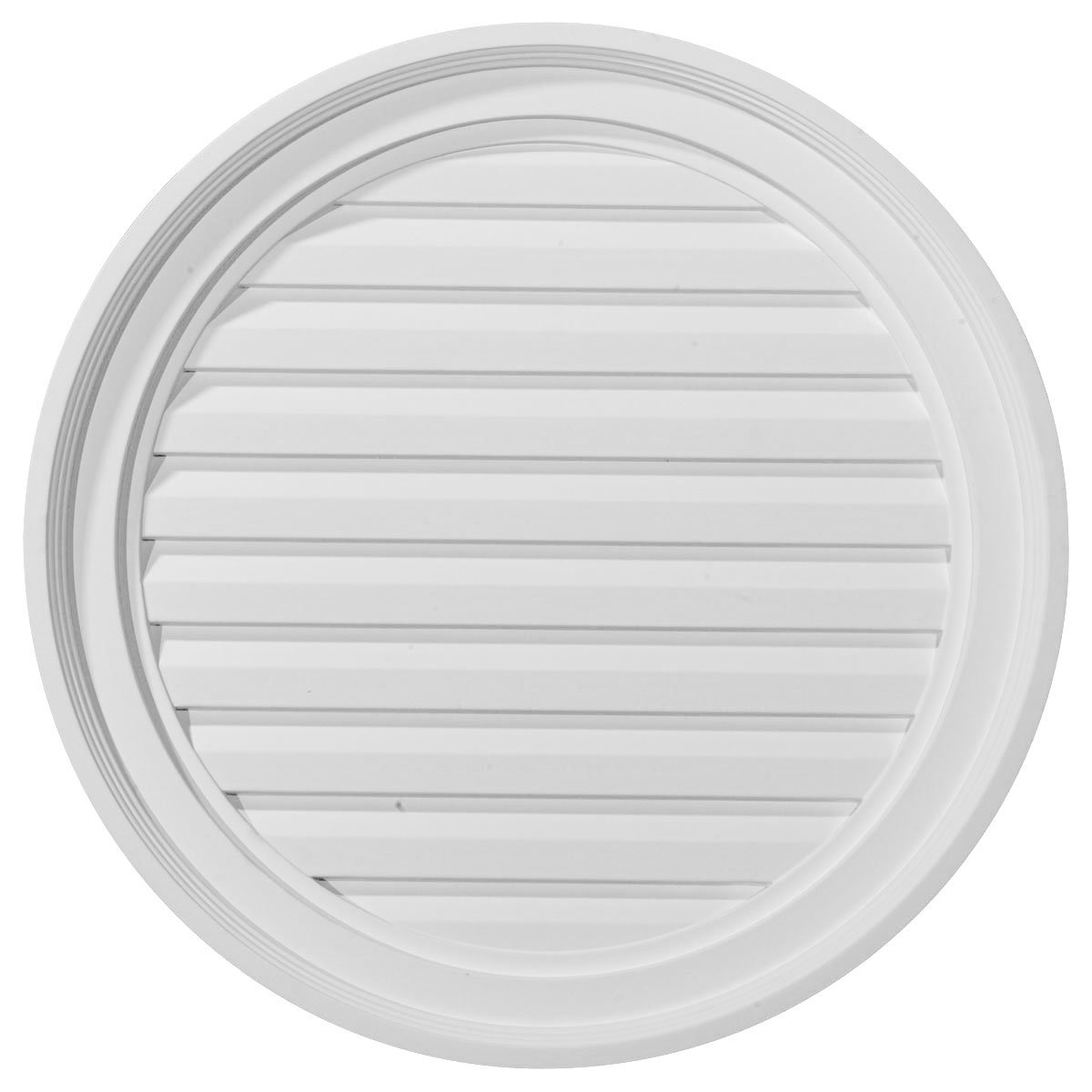 Ekena Millwork GVRO22F 22-Inch W x 22-Inch H x 2 1/8-Inch P Round Gable Vent Louver, Functional