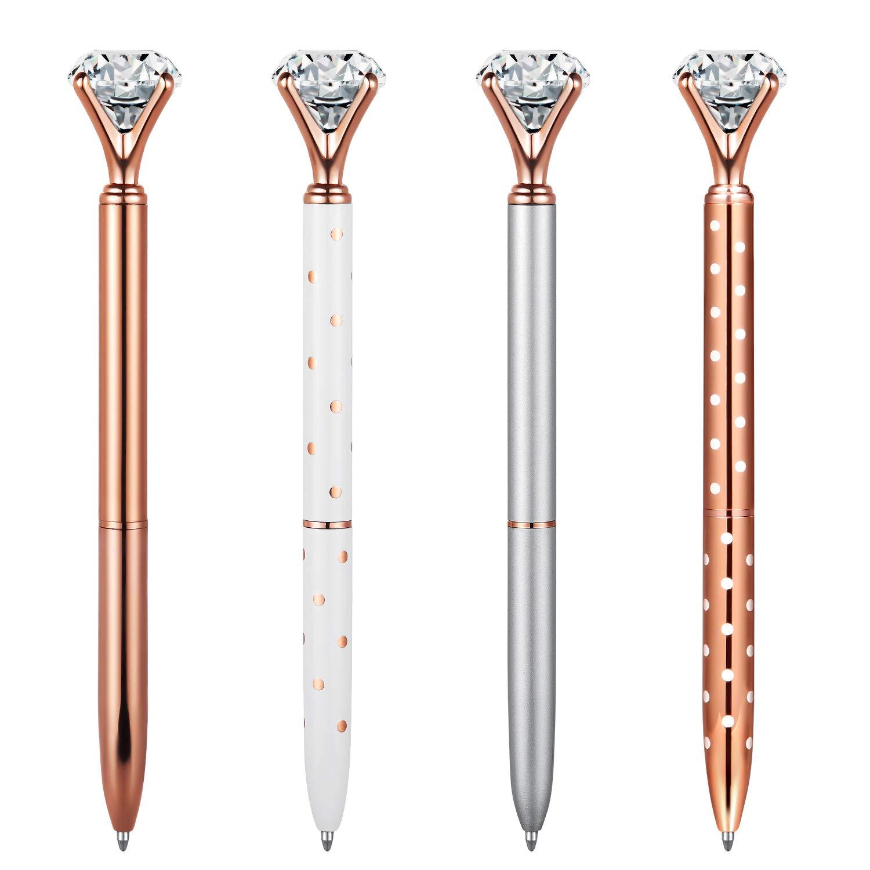 MengRan Rose Gold Office Supplies,4 Pcs Rose Gold Pen with Big Diamond/Crystal,Metal Ballpoint Pen,Black Ink