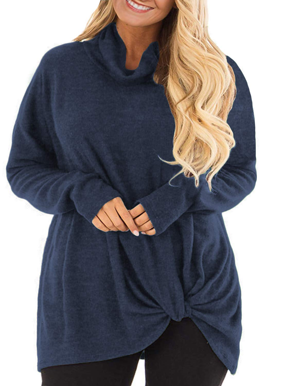 DOLNINE Womens Plus Size Tops Long Sleeve Knotted T-Shirts Loose Tunics Blouses