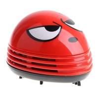 E ECSEM Cute Portable Beetle Ladybug Cartoon Mini Desktop Vacuum Desk Dust Cleaner (Red#02)
