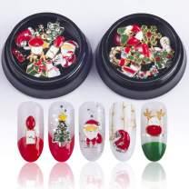 20PCS/2Box Gold Silver Metal 3d Diamonds Nail Art Christmas Decorations Charms Nails Glitter Rhinestones Nail Supplies Jewelry