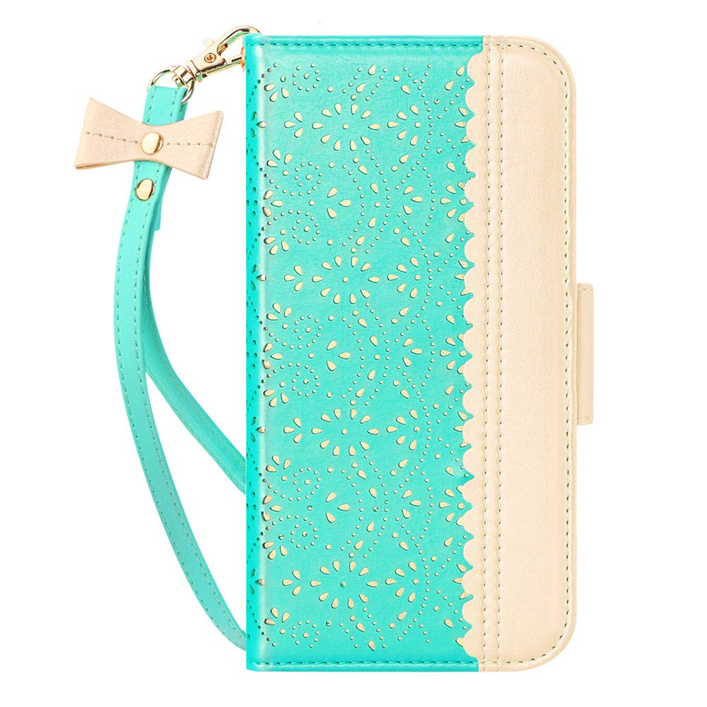 """WWW iPhone 11 Pro Max 6.5"""" Case,iPhone 11 Pro Max Wallet Case, [Luxurious Romantic Carved Flower] Leather Wallet Case [Inside Makeup Mirror] [Kickstand Feature] for iPhone 11 Pro Max 2019 Mint Green"""