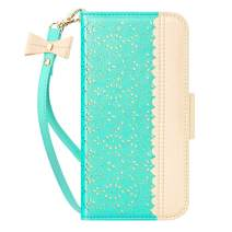 "WWW iPhone 11 Pro Max 6.5"" Case,iPhone 11 Pro Max Wallet Case, [Luxurious Romantic Carved Flower] Leather Wallet Case [Inside Makeup Mirror] [Kickstand Feature] for iPhone 11 Pro Max 2019 Mint Green"
