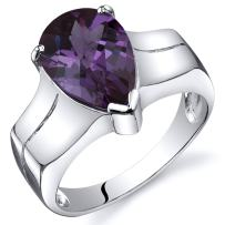 Peora Simulated Alexandrite Ring for Women in Sterling Silver, Cathedral Style, Pear Shape, 3.75 Carats, Comfort Fit, Sizes 5 to 9