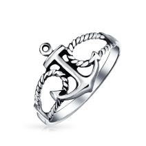 Sailor Boat Lover Nautical Sea Ocean Rope Open 925 Sterling Silver Anchor Ring For Women For Teen