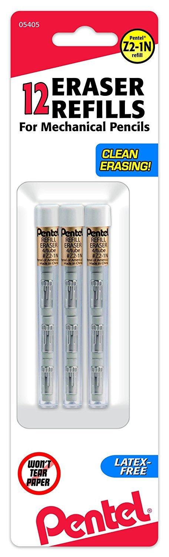 Refill Eraser for Mechanical Pencils, 3 Tubes per pack, 4 erasers per tube