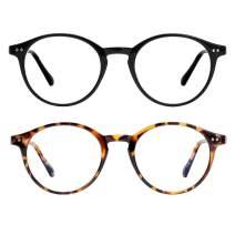 Blue Light Blocking Glasses for Women/Men Vintage Thick Round Rim Eyeglasses Frame Anti Eyestrain Computer Gaming Glasses