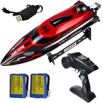 2.4Ghz Rc Boat YF-TOW 20+ MPH High Speed Remote Control Boat Racing Boats with 2 Rechargeable Batteries and Lights for Pools and Lakes, Toys for Boys and Adults