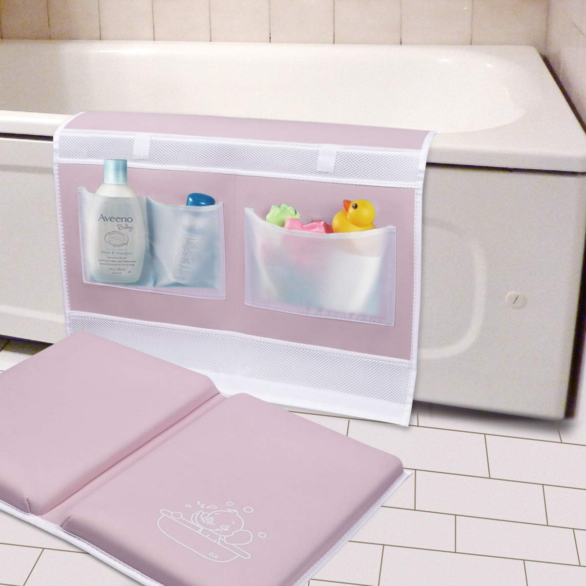 """Bath Kneeler and Elbow Rest 1.5"""" Thick Kneeling Mat with Toy Organizer - Bath Kneeling Pad for Baby Bath Time, Garden Work, Exercise - Detachable and Foldable Bathtub Mat for Parents - Pink"""