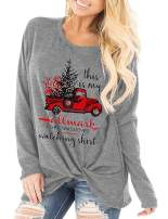 Women Funny This is My Christmas Movie Watching T Shirt Red Truck Christmas Tree Knotted Plus Size Tee Tops Gray 22W