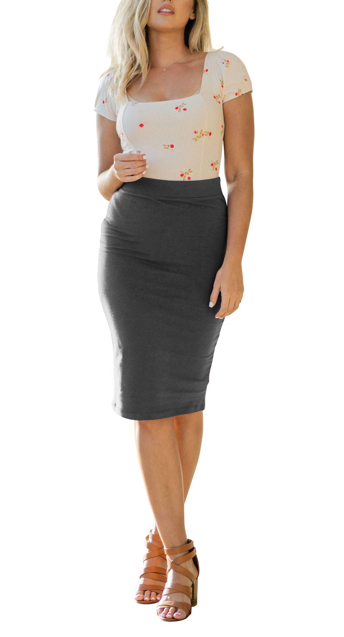 NioBe Clothing Women's High Waist Bodycon Midi Cotton Fitted Pencil Skirt