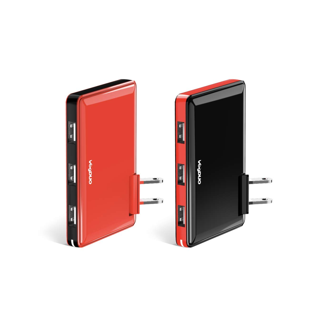 Charger Pro, 2-Pack Premium 3 Port USB Wall Charger, 30W 5V/6A, Slim Design, Foldable Plug for Multiple Apple iPhone X Xs Xr Xs Max, iPad, Android, Samsung Note 9, Black & Red (Gift Box)