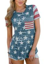 Spadehill Women's July 4th Short Sleeve American Flag Printed T-Shirt