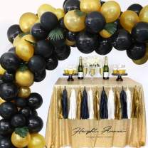 Black Gold Balloon Garland Kit Birthday Party Baby Shower Supplies Black Balloons Arch for Wedding Birthday Graduation Anniversaries Party Decorations
