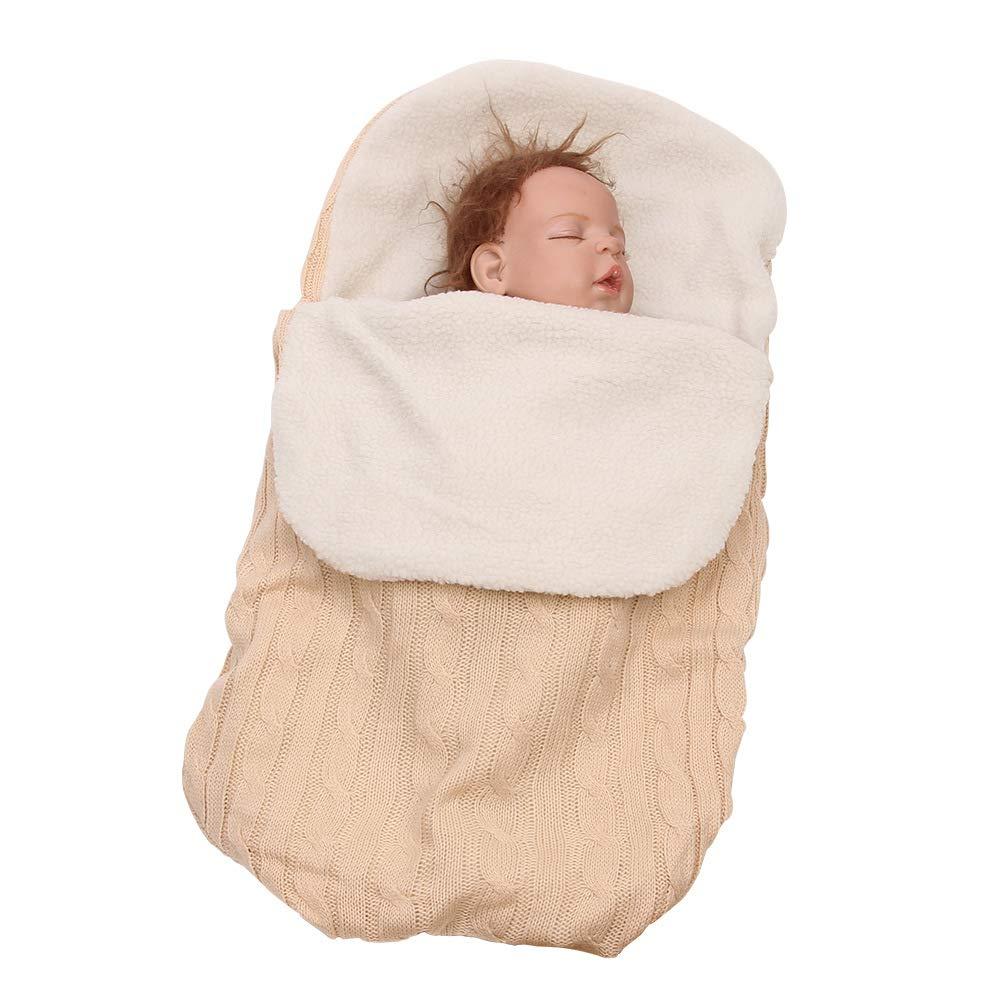 BATTILO HOME Unisex Newborn Baby Swaddle Blankets Knit Soft Warm Stroller Wraps Sleeping Bag Sleep Sack for 0-12 Months Baby Boys Girls (Beige)