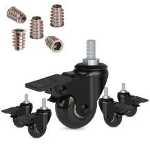 """Hirate 2"""" Swivel Stem Casters with Locking Brake Threaded 3/8""""-16UNC for Office Chairs Furniture and Shelves, Heavy Duty Caster Wheels Replacement Pack of 5 with 3/8"""" Thread Screw Inserts"""