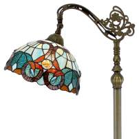 Tiffany Style Reading Floor Lamp Stained Glass with Green Blue Floral Lampshade 64 Inch Tall Antique Arched Base for Bedroom Living Room Lighting Table Gifts S802 WERFACTORY