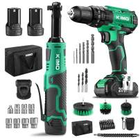 KIMO Cordless Drill Driver Kit with Cordless Extended Power Ratchet Wrench Kit