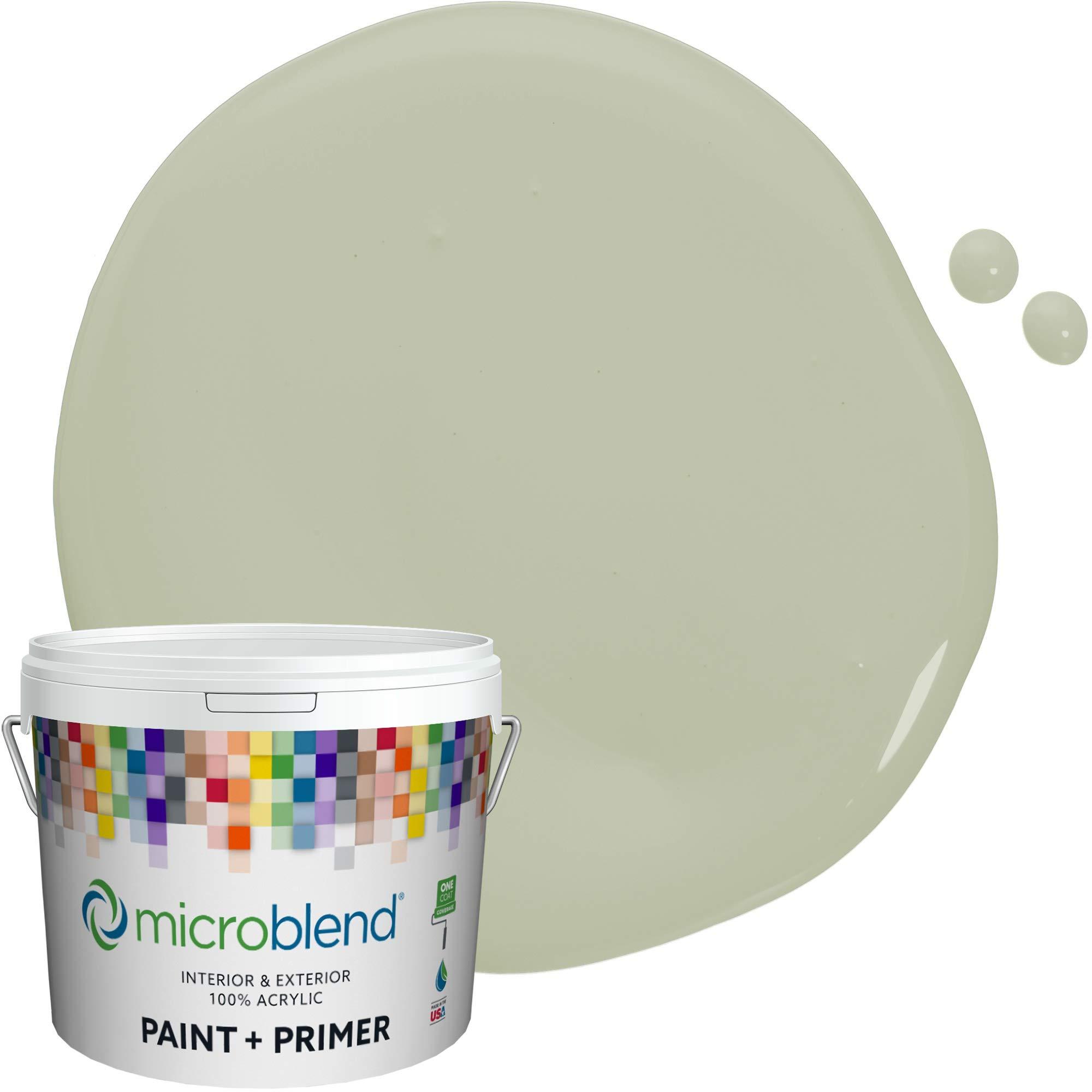 Microblend Exterior Paint + Primer, Slight Celery, Eggshell Sheen, 1 Gallon, Custom Made, Premium Quality One Coat Hide & Washable Paint (74221-2-M1544B2)