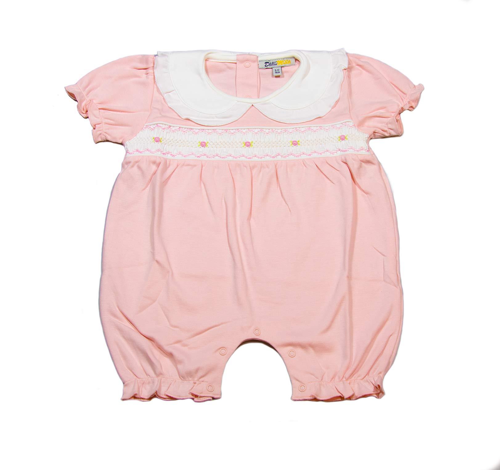 Dakomoda Baby Girls' Organic Smocked Romper, Pink Easter Christening Outfit