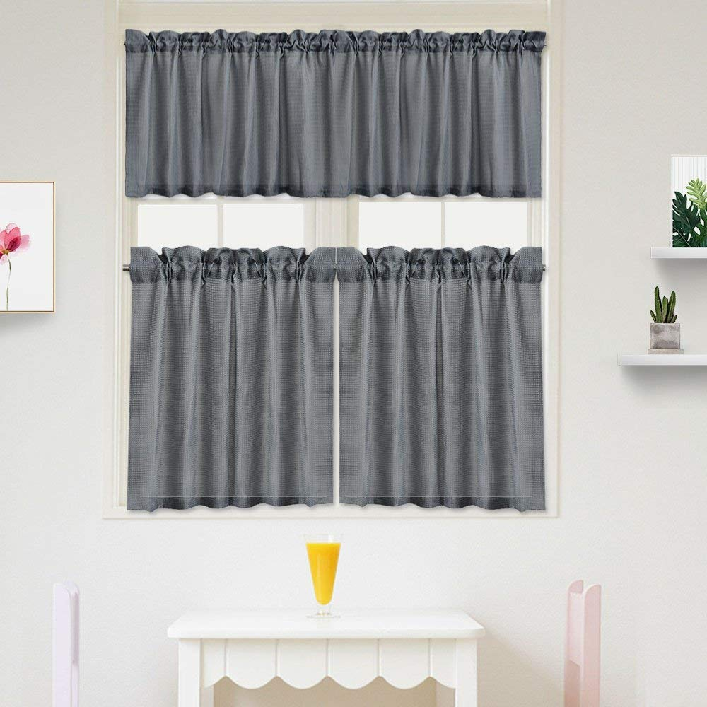 """IDEALHOUSE 3 Pieces Waffle Weave Textured Kitchen Tier Curtains and Valance Set for Bathroom,Water Repellent Tailored Short Cafe Curtains,Grey(60"""" x 15"""" Valance, 2 Set of 30 x 24"""" Tiers)"""
