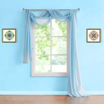 "Warm Home Designs Standard 54"" (Width) x 144"" (Length) Sheer Baby Blue (Aqua) Window Scarf. All Premium Valance Scarves are Great for Any Window, Bed, Wall or Other DIY Project. K Baby Blue 144"""