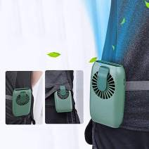 Mini Waist Clip on Fan,Waist Cooling Fan,Portable hands-free necklace and wrist fan with 15H Working Time, 3 Speeds Mode, and USB Rechargeable Battery Operated,for Home Office Outdoor Travel,(Green)