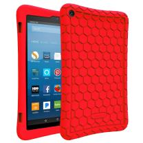 Fintie Silicone Case for All-New Amazon Fire HD 8 (Compatible with 7th and 8th Generation Tablets, 2017 and 2018 Releases) - Honey Comb [Corner Enhancement] Shockproof Kid Friendly Cover, Red