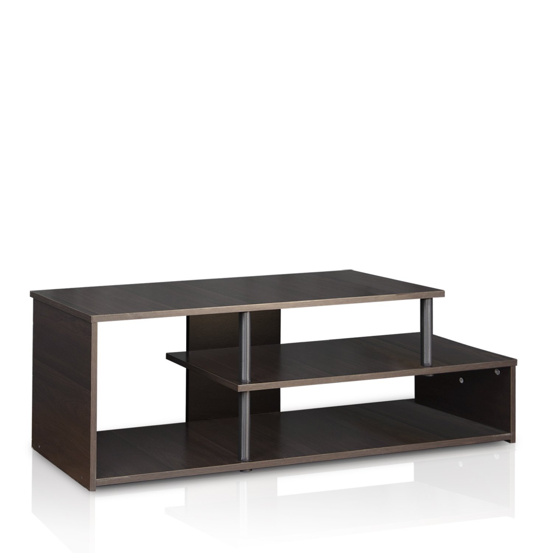 Furinno Econ Low Rise TV Stand, Espresso/Black