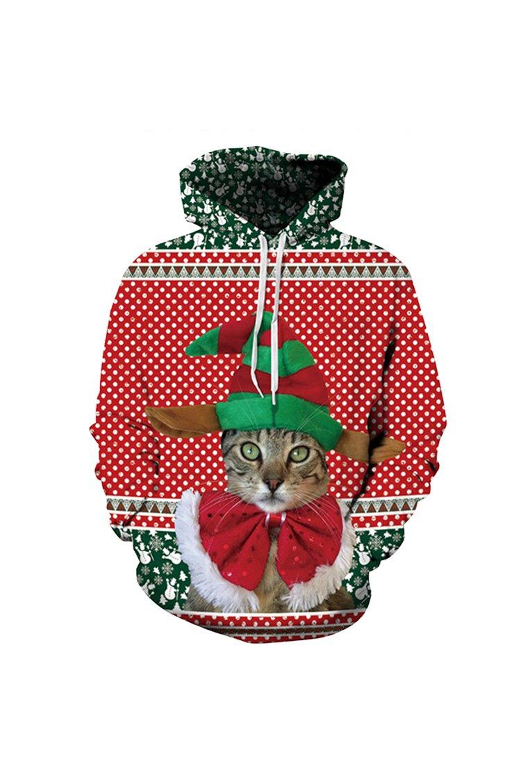 Cutiefox Women's Unisex Digital 3D Print Pullover Christmas Hoodie Sweatshirt