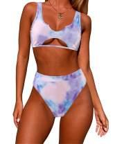 SUUKSESS Women Cutout Bikini Sets Push Up High Waisted Swimsuits 2 Piece