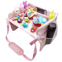 Kids Travel Tray, Toddler Car Seat Lap Tray Collapsible Play Tray, Toddler Car Seat Tray Organizer, Road Trip Essential - Phone Holder, Mesh Pockets, Water-Proof & Sturdy (Pink)
