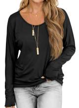 Womens Long Sleeve T Shirts Scoop Neck Batwing Dolman Tops