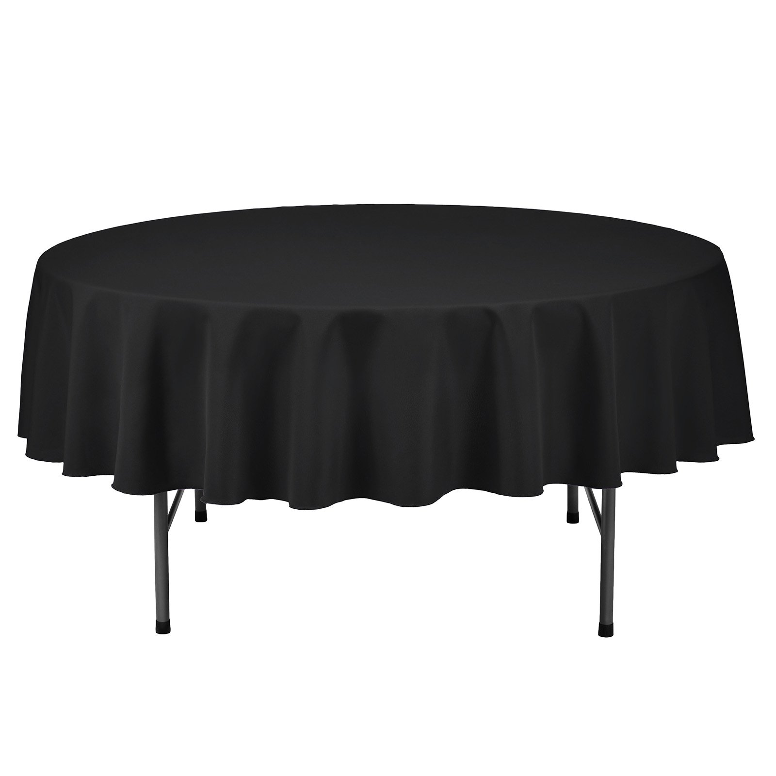 Remedios Round Tablecloth Solid Color Polyester Table Cloth for Bridal Shower Wedding Table – Wrinkle Free Dinner Tablecloth for Restaurant Party Banquet (Black, 70 inch)