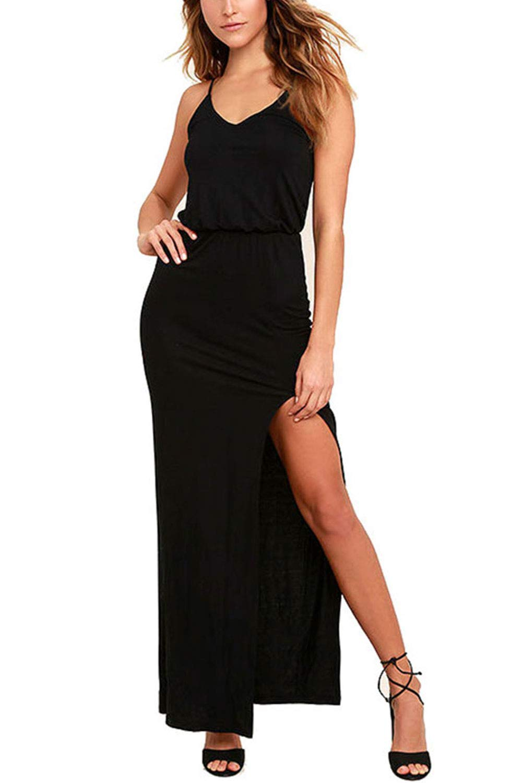 Meenew Women's Summer Maxi Dresses Spaghetti Strap High Slit Long Bodycon Dress