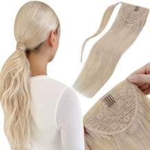 LaaVoo Ponytail Extension Human Hair Blonde Ponytail Remy Clip in Hair Extensions #24 Golden Blonde Pony Tail Hair Extensions Real Hair Silky Straight 20 Inch 100g