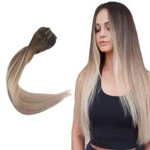 "Easyouth 18"" Real Human Hair Clip in Extensions 140g 10Pcs/Set Middle Brown Fading to Ash Blonde Color #4/18 Remy Hair Balayage Clip on Extensions Brazilian Hair Clip for Hair Full Head Extensions"