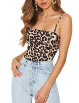 Dlsave Snakeskin Bodysuit for Women Lingerie Leopard Bodysuit Strappy Cami Bodysuit Sleeveless Jumpsuit