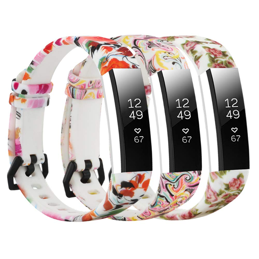 honecumi Replacement Floral Wrist Strap Compatible with Fitbit Alta/Alta HR Pattern Watch Bands for Men Women Adjustable Fitbit Alta HR Band with Metal Clasp