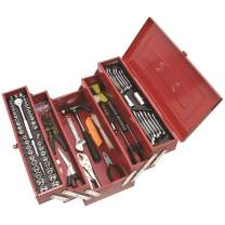 "Supatool Tool Set & Cantilever Tool Box - 1/4"" & 3/8"" Drive SAE & Metric Mechanic Tool Kit & Home Handyman Starter Tool Set - 159 Piece"