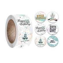 Happy Birthday Stickers Roll 500 PCS per Roll with 6 Different Elegant Style Design Round Sticker Perfect for Baby Shower Birthday Party Flower Package Sealing labels Small Shop Stationery Card Seals
