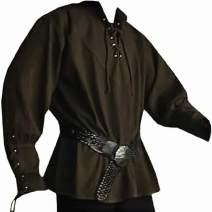 Mens Medieval Lace Up Pirate Mercenary Scottish Wide Cuff Shirt Costume Renaissance Viking Top