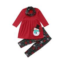 Christmas Outfit Toddler Baby Girl Long Sleeve Snowman T-Shirt Dress Snowflakes Pants