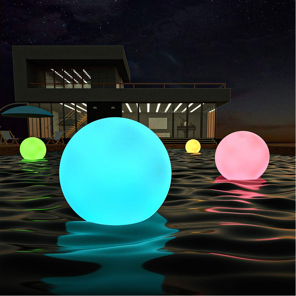 LOFTEK LED Dimmable Large Floating Pool Lights Ball, 12-inch Cordless Night Light with Remote, 16 RGB Colors & 4 Modes, Rechargeable and Waterproof, Perfect for Indoor/Outdoor, Pool, Exhibition Decor