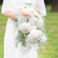 HiiARug Handmade Wedding Bouquets, White Artificial Peony Rose Artificial Flower Bouquet Bride Bridesmaid Bouquet (B White)