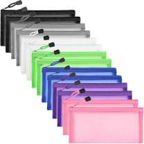 14Pcs Zipper Mesh Pouch, HNYYZL Nylon Grid Document Pouches Ultra-Light Pen Storage Bag Multipurpose Travel Bags in 7 Colors, to Store Stationery Supplies Cosmetics Accessories