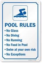 "SmartSign ""Swimming Pool Rules"" Sign   10"" x 15"" Plastic"